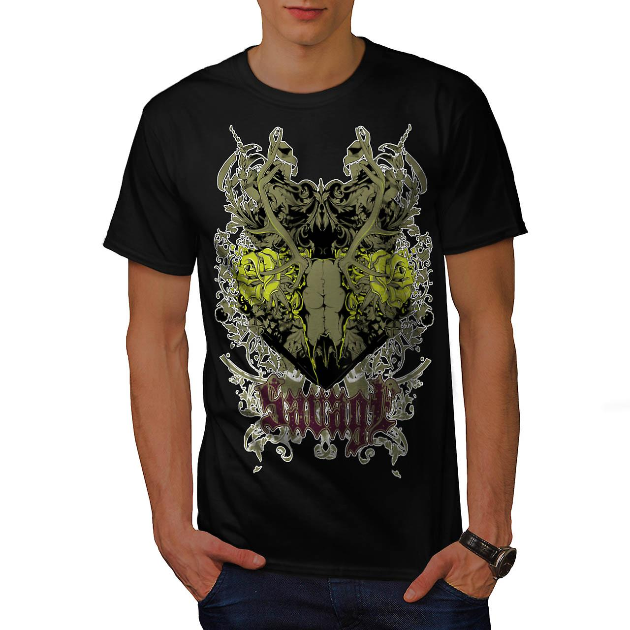 Savage Animal Rose Skull Men Black T-shirt | Wellcoda
