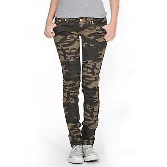 Army camouflage skinny stretch jeans - dark green