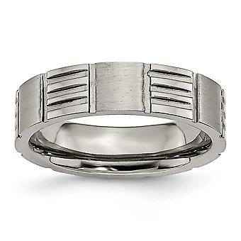 Titanium Engravable Polished and satin Notched 6mm Satin and Polished Band Ring - Ring Size: 6 to 13