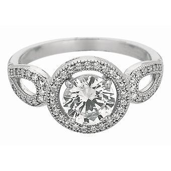 Prata com ródio acabamento brilhante 2.2mm clara Cubic Zirconia Fancy - tamanho 6 redondo anel superior