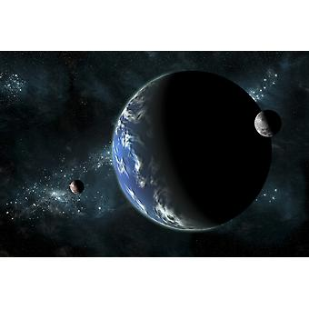 A large water covered planet with two moons alone in deep space The galactic core serves as background while a nearby star illuminates the planetary group Poster Print