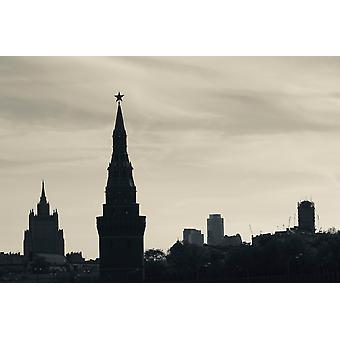 Silhouette of Kremlin towers Moscow Russia Poster Print
