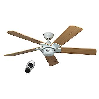 "Ceiling fan ROTARY 132 cm / 52"" White blades pine with remote control"