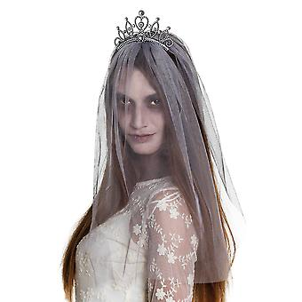Adults Zombies & Ghost Princess Tiara with Veil Halloween Fancy Dress Accessory