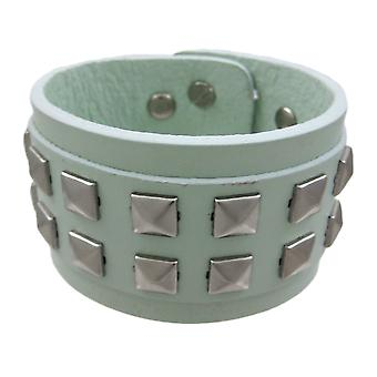 Gray Leather 2 Row Pyramid Studded Wristband Wrist Band