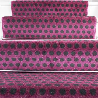 80cm bredde - moderne Polka prikker lilla trappe tæppe