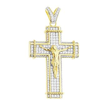 Premium Bling - 925 sterling silver cross pendant-gold
