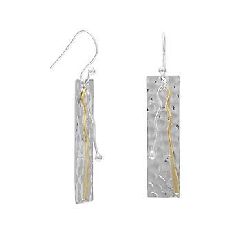 Sterling Silber zwei getönten Bar Tropfen Ohrringe