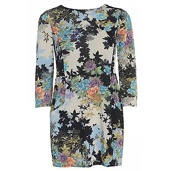 Blue Floral Satin Look Top TP417-S