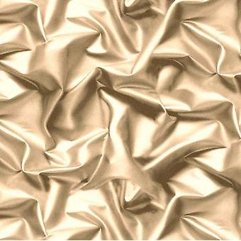 Muriva 3D effect Velvet Silk Fabric Cream/Gold Crushed Wallpaper