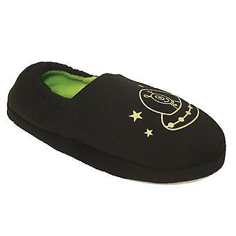 Boys SlumberzzZ Glow In The Dark Fleece Lined Slipper With Elasticated Heel