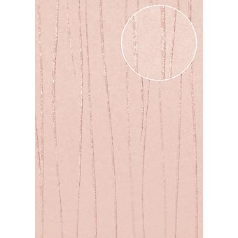 Fine stripe wallpaper Atlas COL-965-5 non-woven wallpaper smooth design shimmering Pink White 5.33 m2