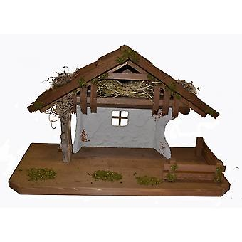 Christmas Nativity scene wood Nativity stable Delilah without figures 50 x 25 x 32 cm hand work from Bavaria