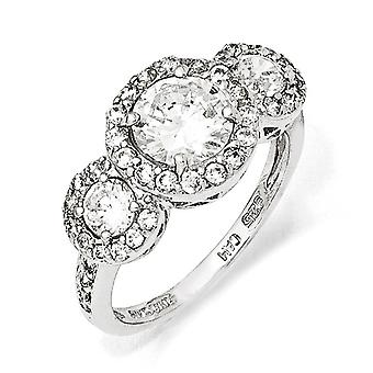 Sterling Silver Rhodium-plated Cubic Zirconia 3-stone Ring - Ring Size: 6 to 8