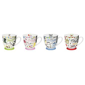 New Bone China Mugs Set of 4 Lifestyle Design Tea Coffee Home Kitchen Office Cup