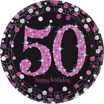 Amscan Sparkling Pink Celebration 50th Birthday Party Plates (Pack of 8)