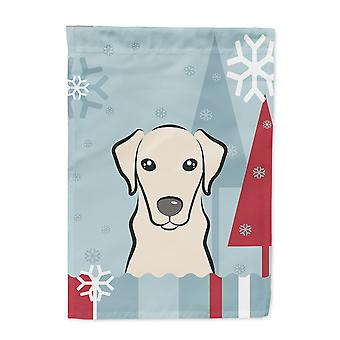 Winter Holiday Yellow Labrador Flag Canvas House Size