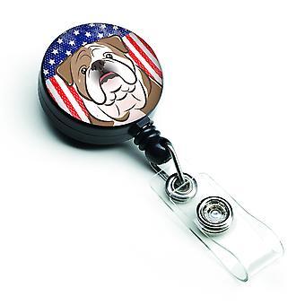 Amerikanische Flagge und englische Bulldogge versenkbare Abzeichen Reel