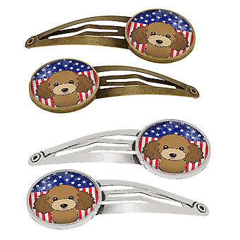 American Flag and Chocolate Brown Poodle Set of 4 Barrettes Hair Clips