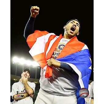 Carlos Correa celebrates winning Game 7 of the 2017 World Series Photo Print