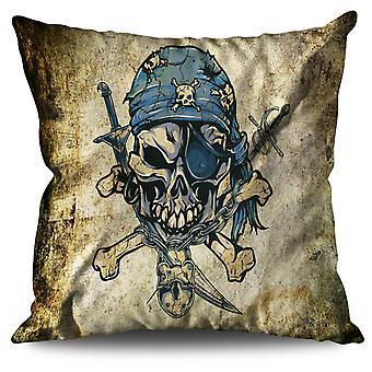 Pirate Skeleton Skull Linen Cushion Pirate Skeleton Skull | Wellcoda