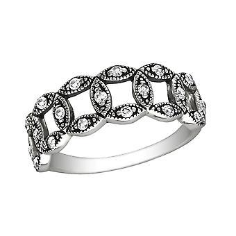 Círculo - 925 anillos de plata de ley cúbicos Circonia - W30140X