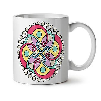 Mandala Spiral NEW White Tea Coffee Ceramic Mug 11 oz | Wellcoda