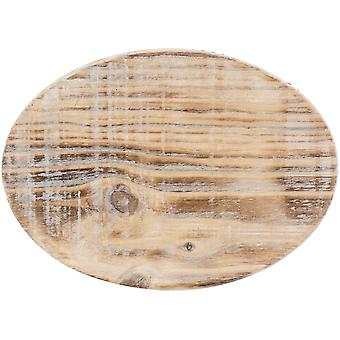 Cake Stand Oval Wood W/Galvinized Edge 7.6