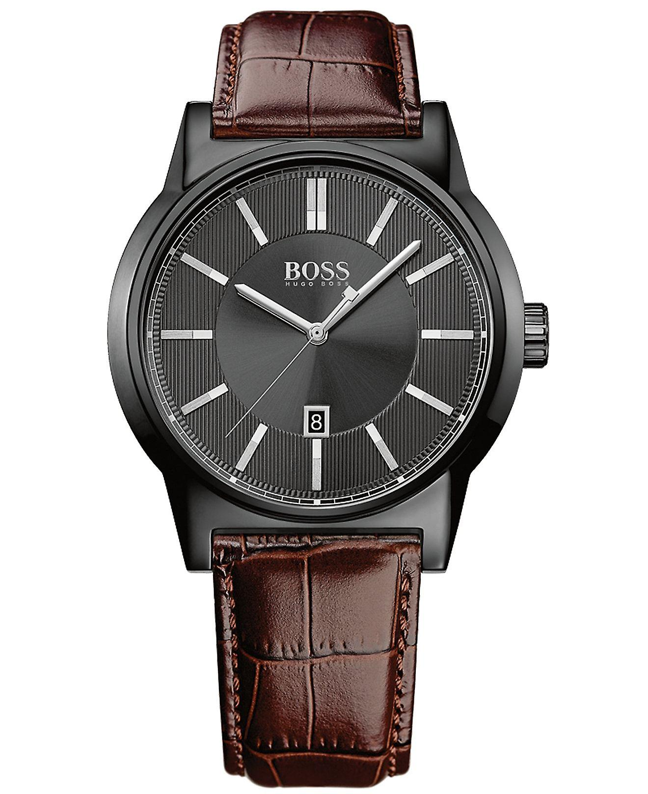 Hugo Boss Mens Boss Architecture Brown Leather Strap Watch HB 1513071