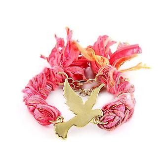 Ettika - Bracelet in yellow gold Dove and cotton ribbons braided red coral
