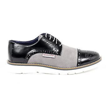 Andrew Charles Mens Brogue Oxford Shoe 911 Abrasivato Cam Nero Grigio