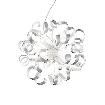 Ideal Lux Vortex Brushed Silver And White Ribbon Typ Globus Kronleuchter