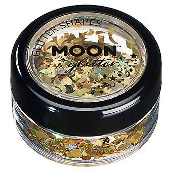 Holographic Glitter Shapes by Moon Glitter – 100% Cosmetic Glitter for Face, Body, Nails, Hair and Lips - 3g - Gold