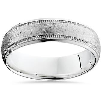 Borstad Milgrain & polerad avfasade bröllop Band 14K vitt guld 6mm