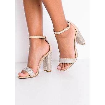 Tacco diamante impreziosito finto camoscio blocco Strappy sandali Beige