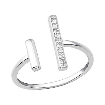 Open Bar - 925 Sterling Silver Jewelled Rings