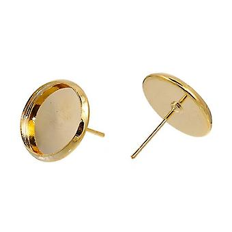 Packet 10 x Gold Plated Copper Coin Earring Cabochon Settings 13 x 14mm Y09805