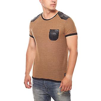 RUSTY NEAL one pocket mens T-Shirt Brown with bag
