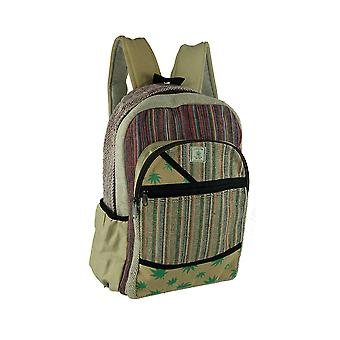 Good Vibes Hemp Leaf Tribal Striped Organic Hemp Backpack