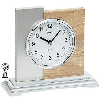 AMS 5151 table clock radio silver modern wooden Sonoma optics with aluminium support