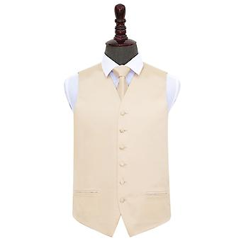 Champagne Plain Satin Wedding Waistcoat & Tie Set