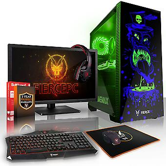 Fierce GOBBLER Gaming PC, Intel Core i5 7400 3.5GHz, 120GB SSD, 2TB HDD, 16GB RAM, GTX 1050 Ti 4GB