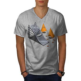 Grater Slide Men GreyV-Neck T-shirt   Wellcoda
