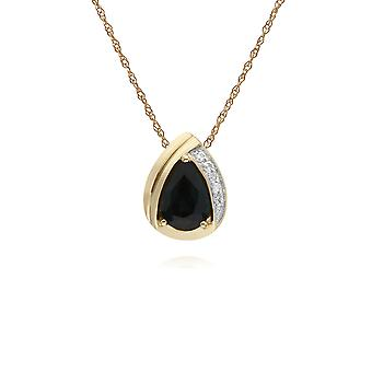 Gemondo 9ct Yellow Gold Sapphire & Diamond Pear Classic Pendant on 45cm Chain