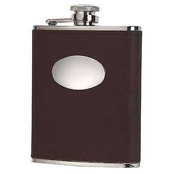 Orton West 6oz Captive Top Hip Flask - Brown