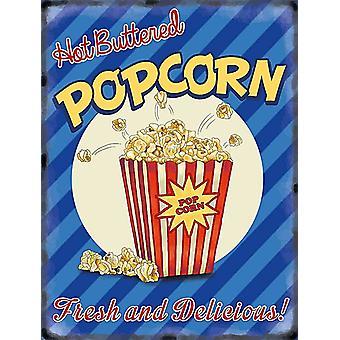 Hot Buttered Popcorn Large Metal Sign 400Mm X 300Mm