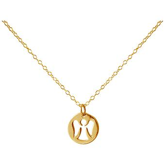 Gemshine - ladies - necklace - pendant - 925 Silver - gold plated - Angel - 1.2 cm