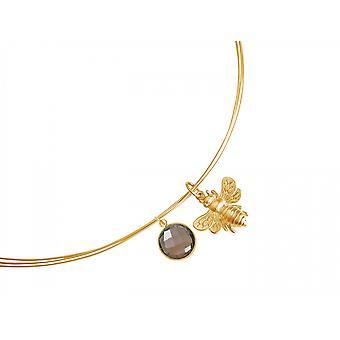 Gemshine - ladies - collana - ciondolo - argento 925 - oro placcato - BEE - bee - quarzo fumé - marrone - cm 45
