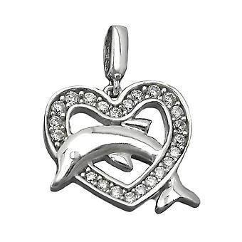 Silberner Anhänger Glitzer Herz mit Delfin Zirkonias rhodiniert 925 Silber