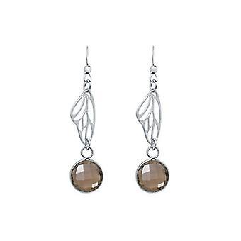 Smoky quartz earrings oorbellen zilver vlinder vleugels Rookkwarts Brown - 4 cm